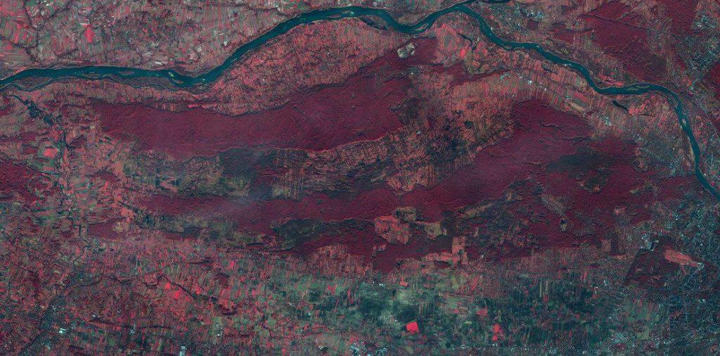 Zdjęcie satelitarne Kampinoskiego Parku Narodowego