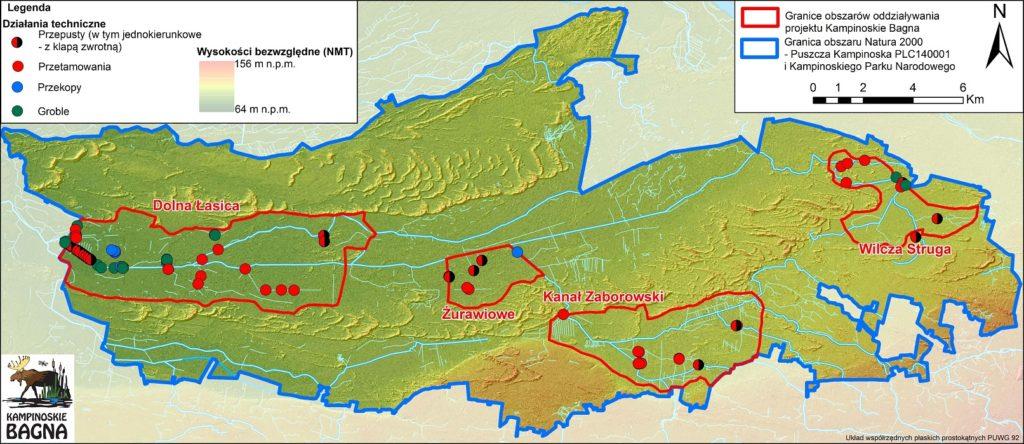 Mapa obiektów hydrotechnicznych wybudowanych w Kampinoskim Parku Narodowym w ramach projektu Kampinoskie Bagna