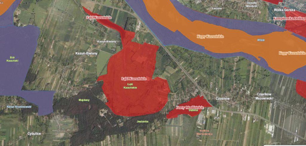 Mapa Łąk Kazuńskich