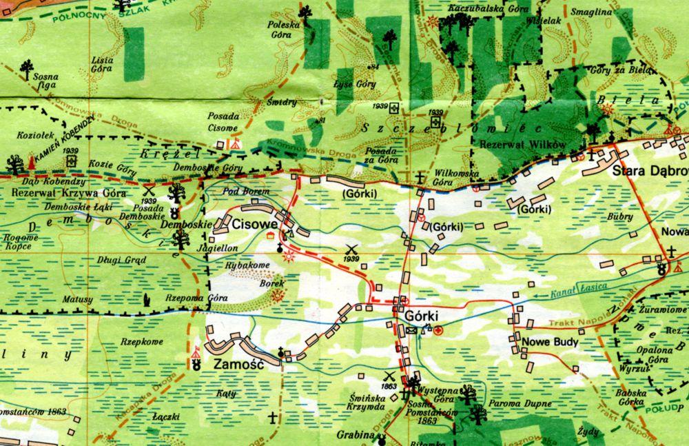 Mapa Kampinoskiego Parku Narodowego wydawnictwa PPWK z 1979 roku