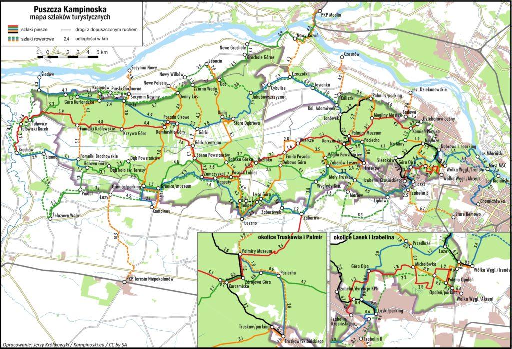 Mapa szlaków Kampinoskiego Parku Narodowego